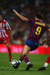 AUGUST 31, 2009 - Football : Zlatan Ibrahimovic of FC Barcelona in action during the La Liga match between FC Barcelona and Sporting Gijon at Camp Nou stadium on August 31 in Barcelona, Spain. (Photo by Tsutomu Takasu)